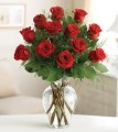 Dozen Long Stem Red Roses Vased