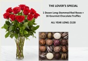 THE LOVER'S SPECIAL: 1 DOZ. ROSES + TRUFFLES