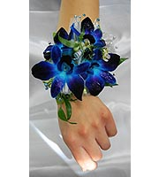 Blue Orchids With Pearl Wristlet