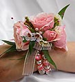 Pink Rose Corsage With Bobble Wristlet