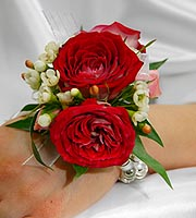 Red Bi Color Rose Corsage With Pearl Wristlet