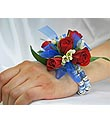 Red Rose Corsage With Blue accent and Bobble Wristlet