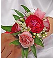 Pink and Red Rose Corsage With Pearl Wristlet