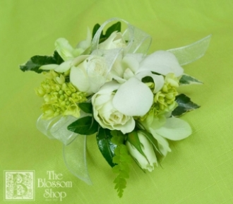 The Blossom Shop Mixed White Wrist Corsage Charlotte Nc
