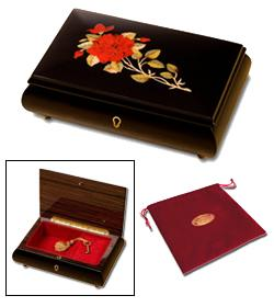 Sorrento Red Rose Musical Jewelry Box