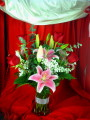 Roses and Pink Lilies