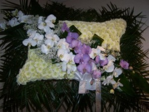 Pequa White Pillow with Orchids