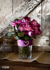 Garden Roses with Heart Broach