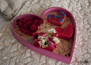 Buttons and Roses Pave Heart