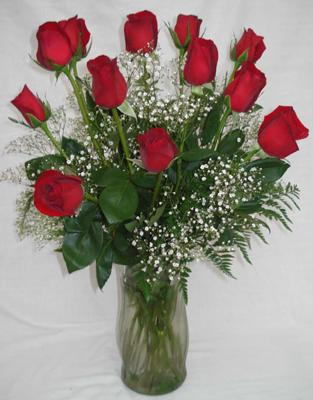 Dozen Roses Vased