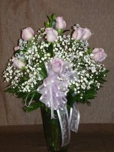 LF - Doz Roses Vased - Pink 1