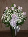 Doz Roses Vased - Pink 1