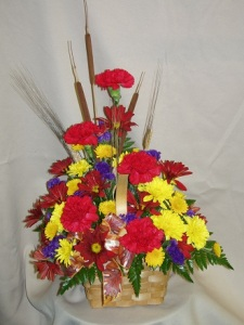 Sympathy Arrangement - Wicker Basket 1 Fall