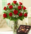 Dozen Long Stem Red Roses w/ Chocolate