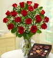 18 Long Stem Red Roses w/ Chocolates