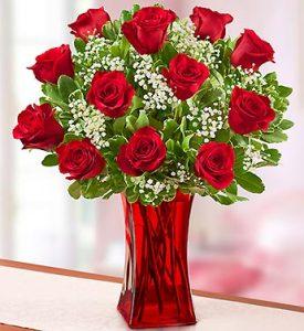 Dozen Roses in Red Vase