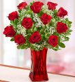Dozen Roses in Red Vase