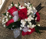 Red & White Wristlet Corsage