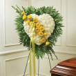 Solid White Standing Heart with Yellow Rose Break