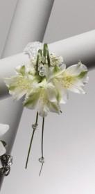 White Alstroemeria Wrist Corsage