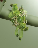 Green Button Pompon Wrist Corsage