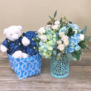 Baby Boy Flowers with Bear and Onsie