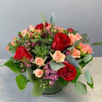crimson and blush garden - Blush Garden Rose Bouquet