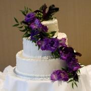 Cascading Purple Wedding Cake Flowers