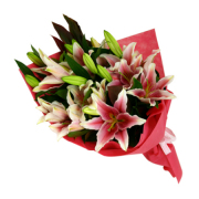 Pink Lily Wrapped Bouquet