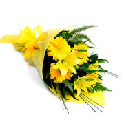 Mixed Yellow Wrapped Bouquet