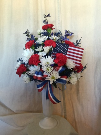 Marthas Flower Gift Shop Memorial Vase Red White And Blue