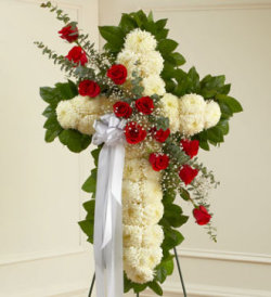 White Standing Cross with Red Roses