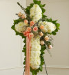 White Standing Cross with Peach Roses