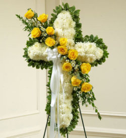 White Standing Cross with Yellow Roses
