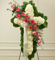 White Standing Cross with Pink Roses