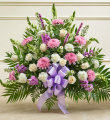 Lavender and White Sympathy Floor Basket