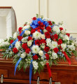 Cherished Memory Half Casket Cover-Red/White/Blue