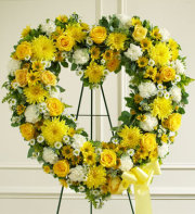 Always Remember Floral Heart Tribute - Yellow