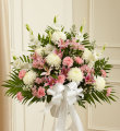Heartfelt Sympathies Standing Basket - Pink & White