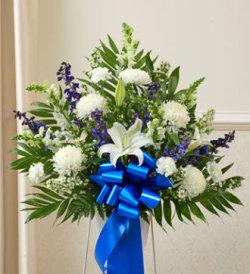 Heartfelt Sympathies Standing Basket-Blue & White