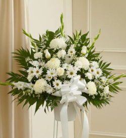 Heartfelt Sympathies Standing Basket - White
