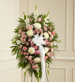 Deepest Sympathies Standing Spray - Pink & White