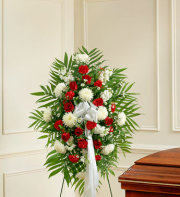 Deepest Sympathies Standing Spray - Red & White