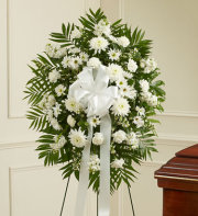 Deepest Sympathies Standing Spray - White