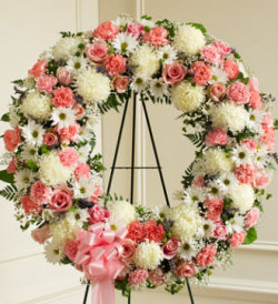 Serene Blessings Standing Wreath - Pink & White