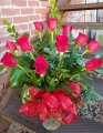 Dozen Red Roses with Mixed Greens