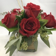 6 Rose Centerpiece - Rustic