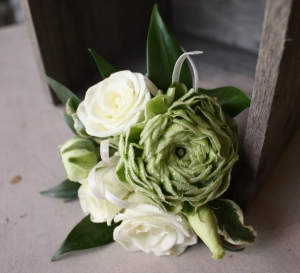 Oleander\'s Classic Whites and Greens Corsage