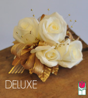 French Corsage - White Roses with Gold - Deluxe