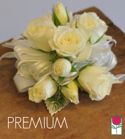 French Corsage - White Roses with Silver - Premium